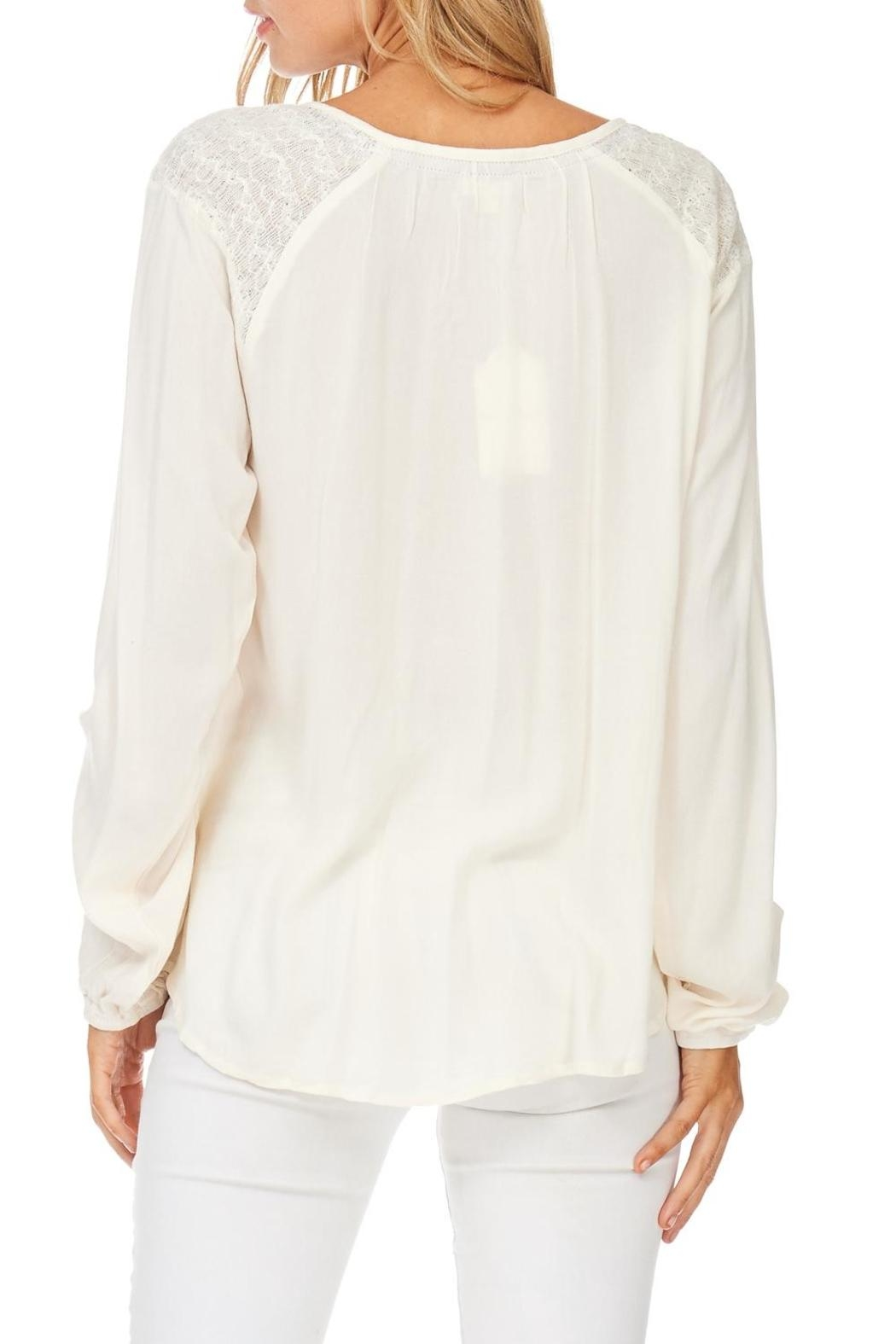 Hem & Thread Cream Embroidered Detail Blouse - Back Cropped Image