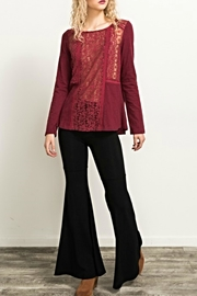 Hem & Thread Crimson Lacey Top - Front cropped