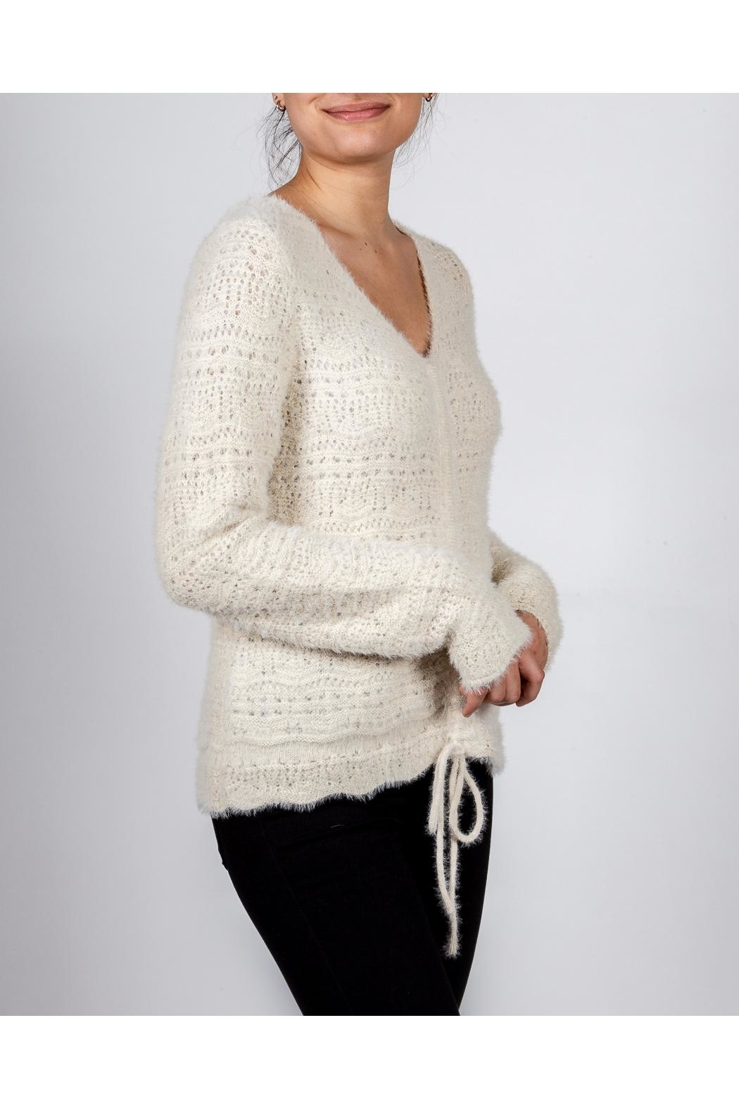 Hem & Thread Croched Cream Sweater - Front Full Image