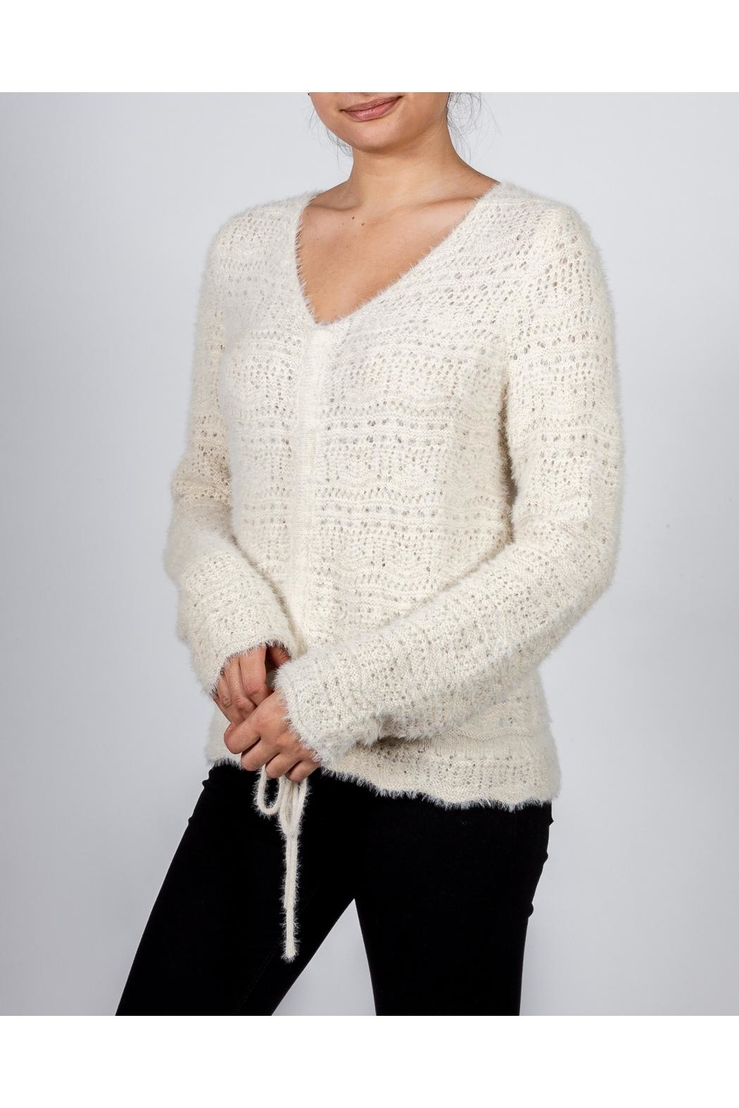 Hem & Thread Croched Cream Sweater - Back Cropped Image