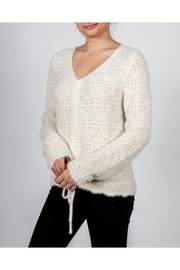 Hem & Thread Croched Cream Sweater - Back cropped