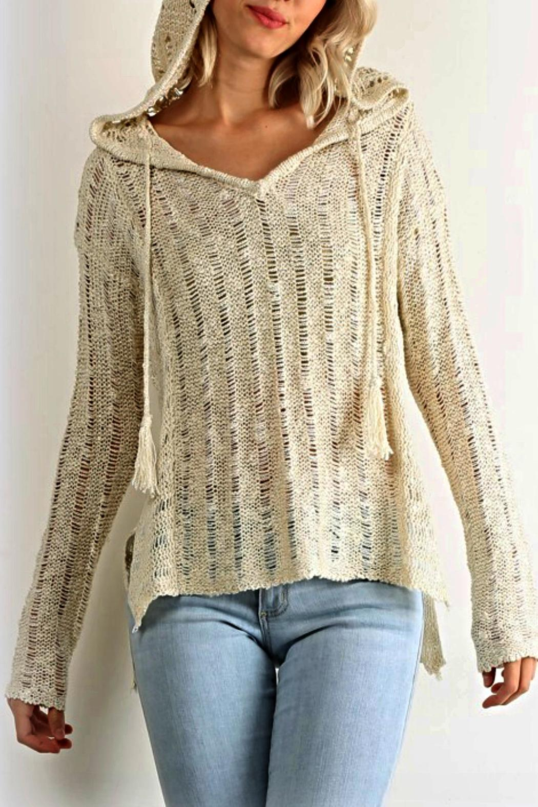 Hem Thread Crochet Hoodie Sweater From Chicago By What She Wants Boutique Shoptiques