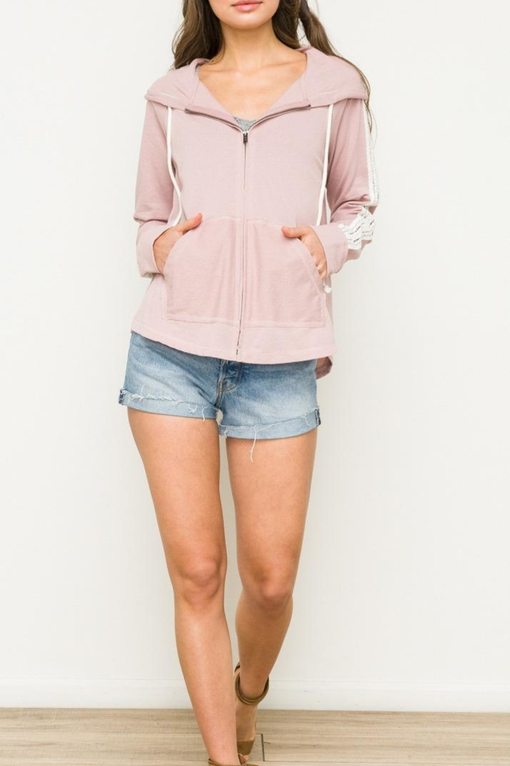 Hem & Thread Crochet Trim Hoodie - Front Cropped Image