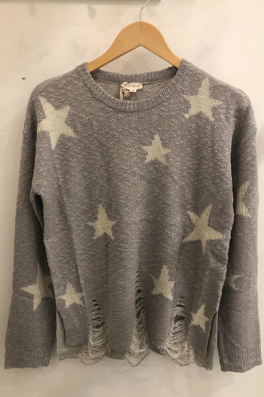 Hem & Thread Distressed Bottom Hem Round Neck Star Sweater - Front Cropped Image