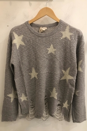 Hem & Thread Distressed Bottom Hem Round Neck Star Sweater - Front cropped