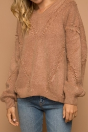 Hem & Thread Distressed Cropped Sweater - Front cropped