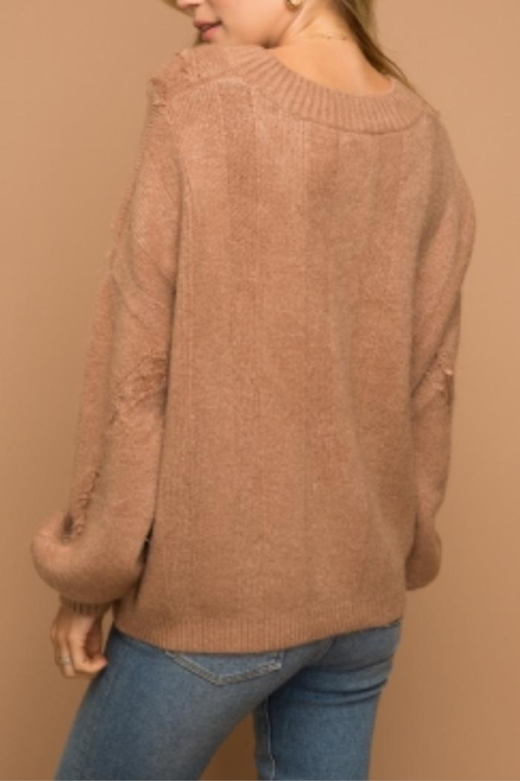 Hem & Thread Distressed Cropped Sweater - Front Full Image