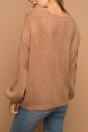 Hem & Thread Distressed Cropped Sweater - Front full body