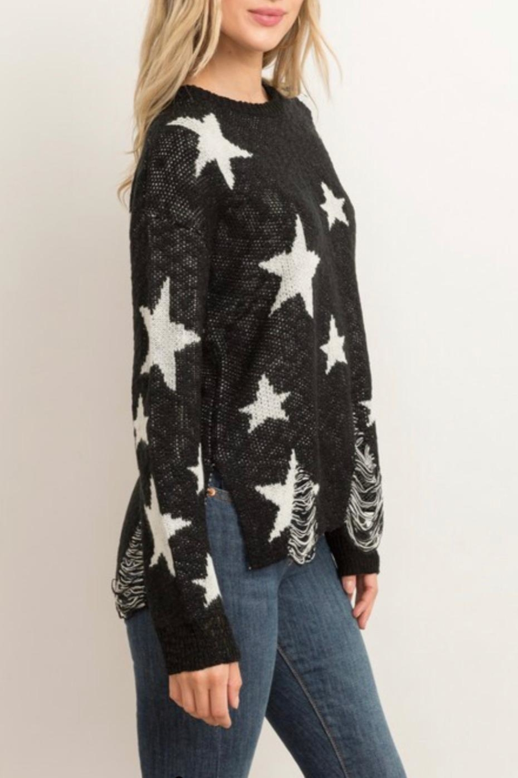 Hem & Thread Distressed Star Sweater - Side Cropped Image