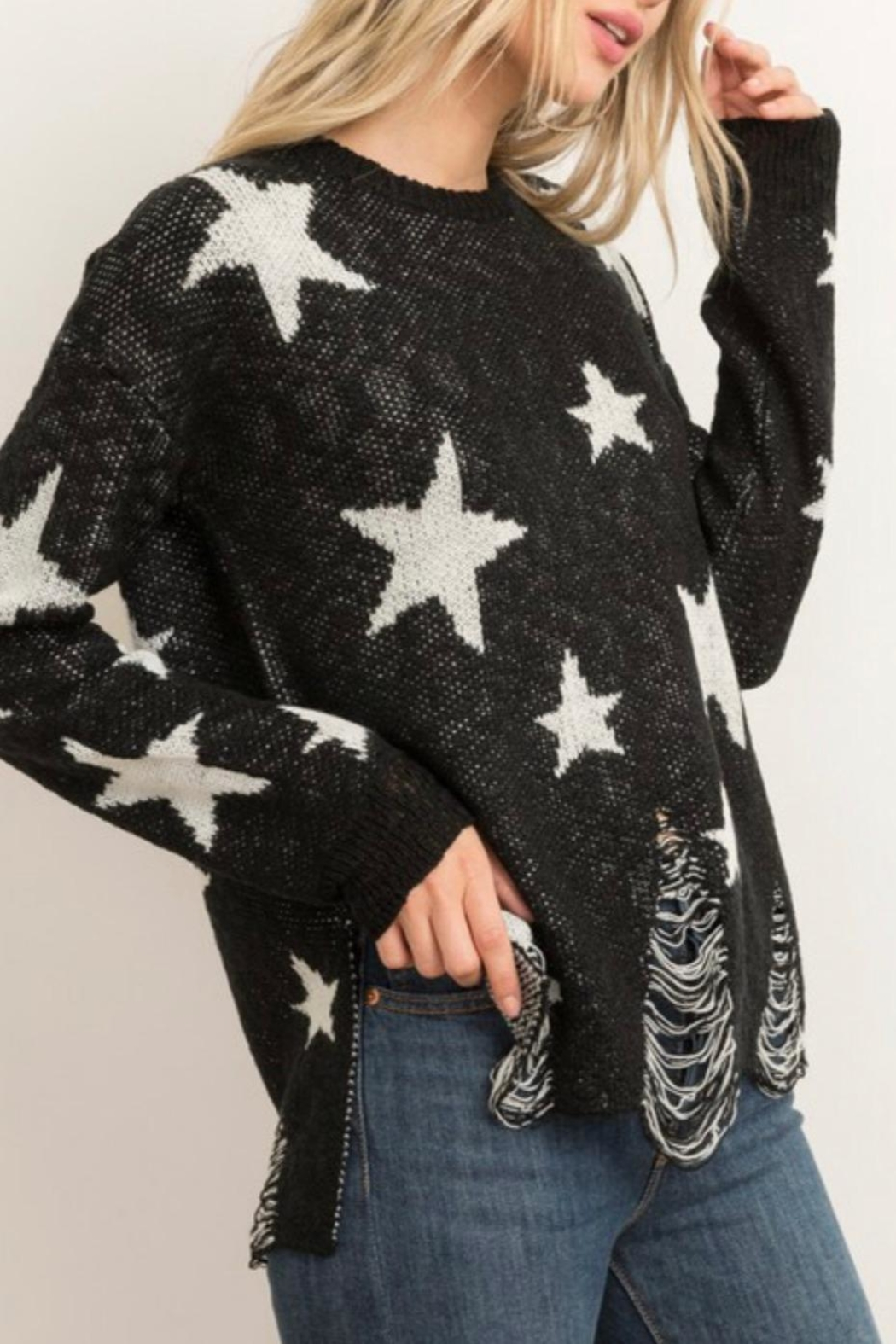 Hem & Thread Distressed Star Sweater - Front Full Image