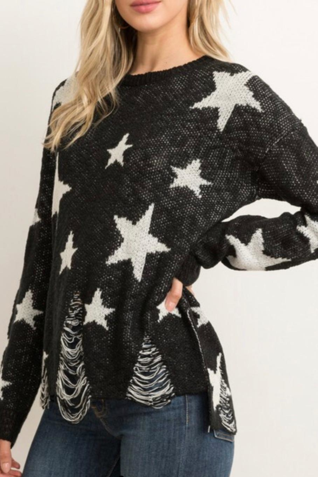Hem & Thread Distressed Star Sweater - Front Cropped Image