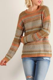 Hem & Thread Earthtone Striped Sweater` - Product Mini Image