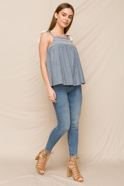 Hem & Thread Embroidered Smocked Top - Front full body