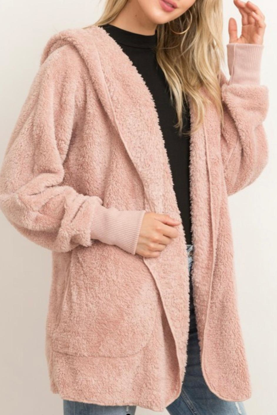 Hem & Thread Fur Open Jacket - Front Full Image