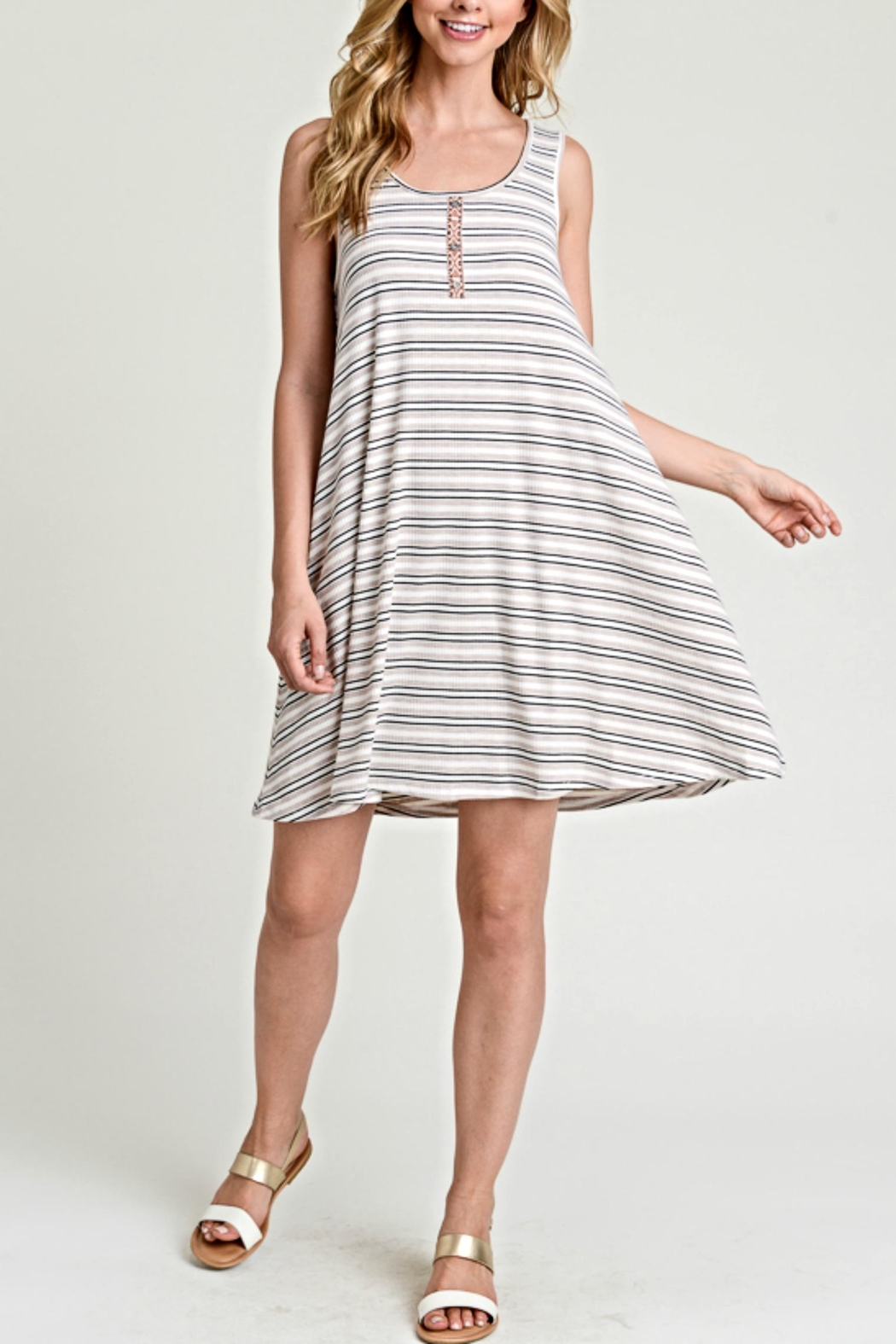 Hem & Thread Flared Stripe Dress - Main Image