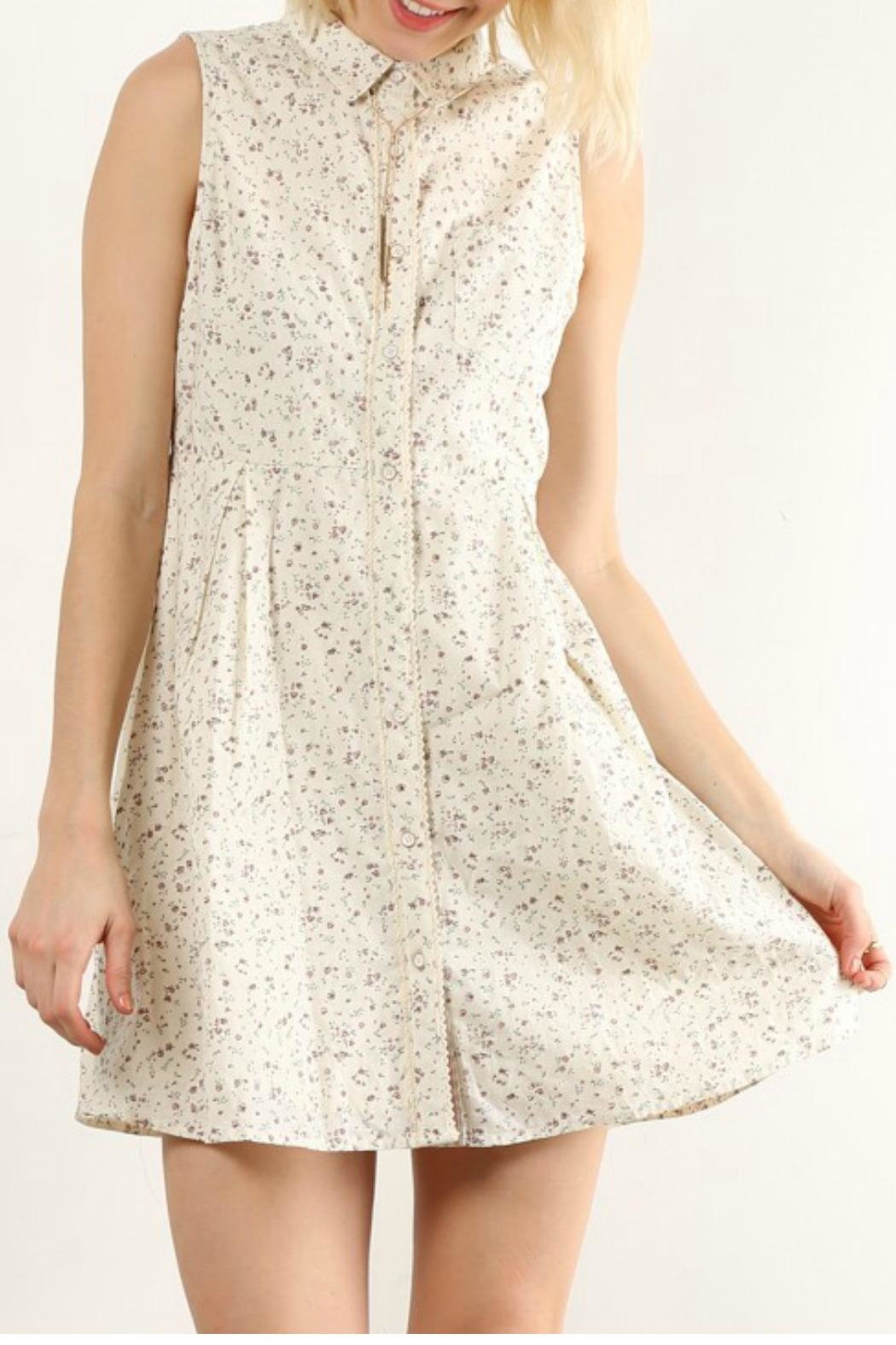 Hem & Thread Floral Cream  Shirt Dress - Front Cropped Image