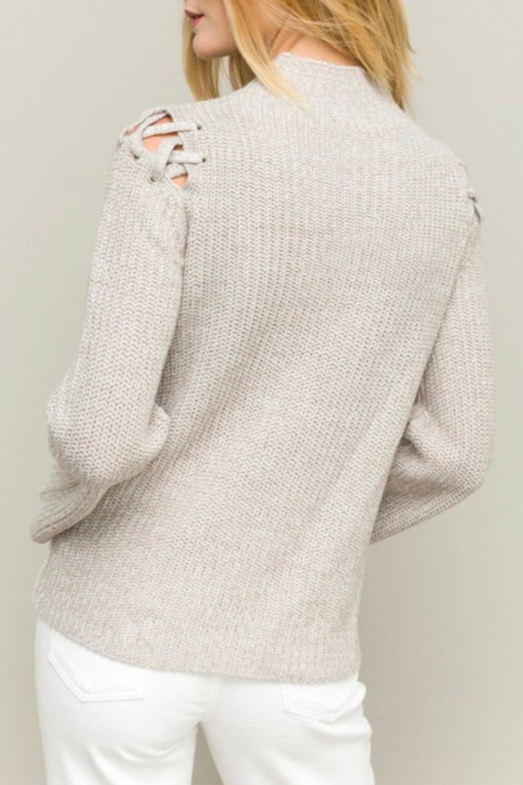 Hem & Thread Funnel Neck Sweater - Side Cropped Image