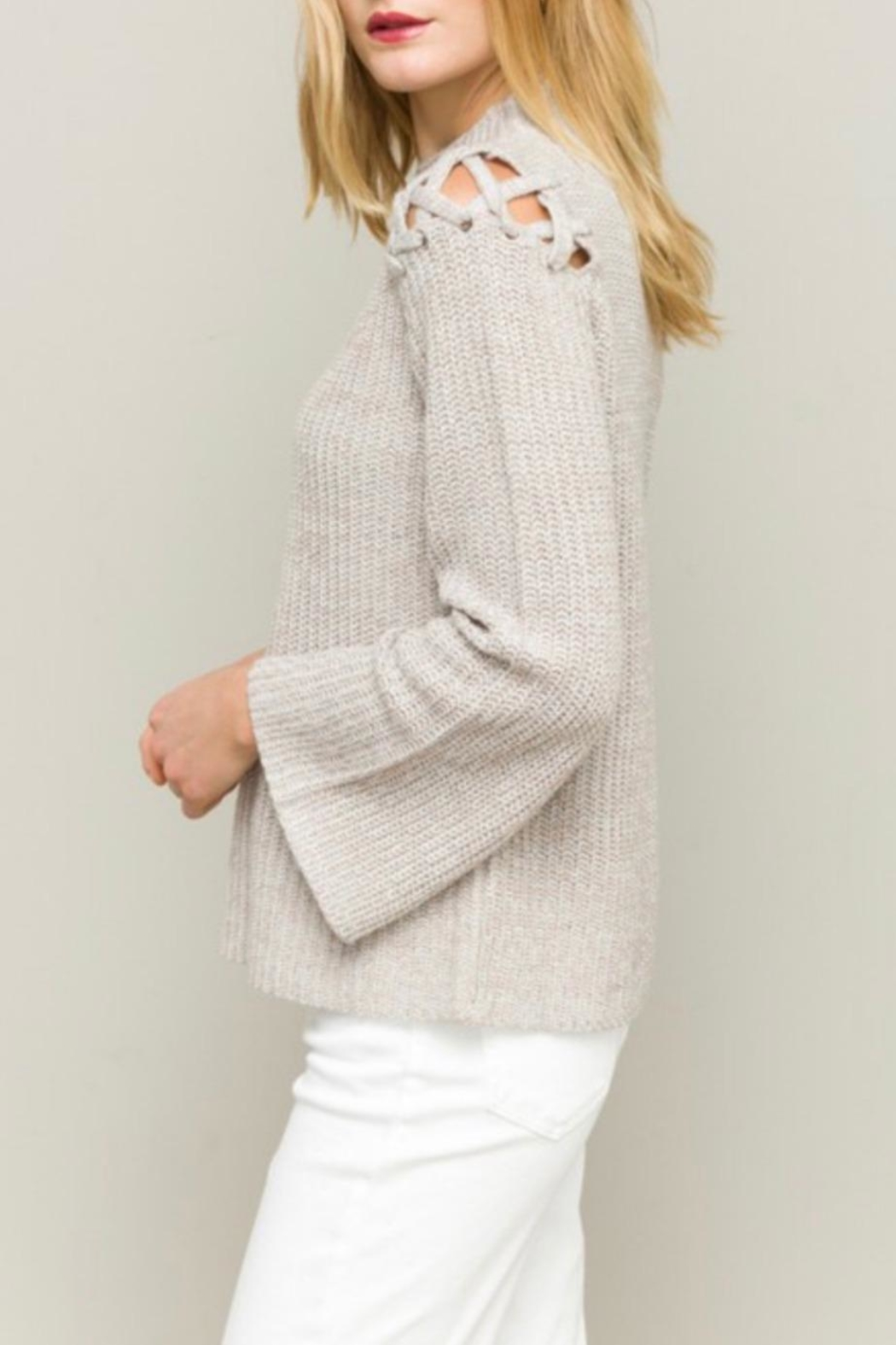 Hem & Thread Funnel Neck Sweater - Back Cropped Image