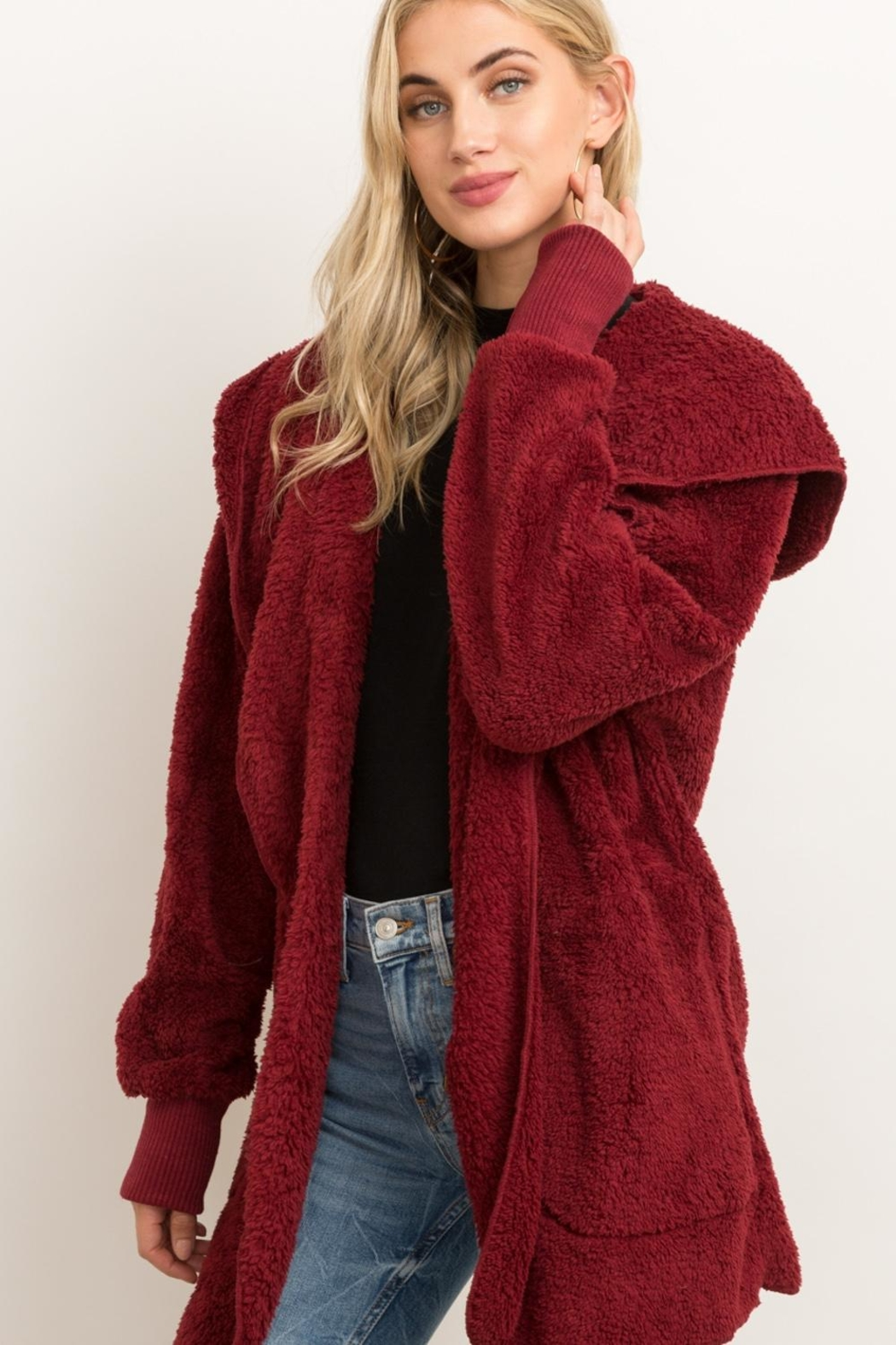 Hem & Thread Fur Open Cardigan - Front Cropped Image