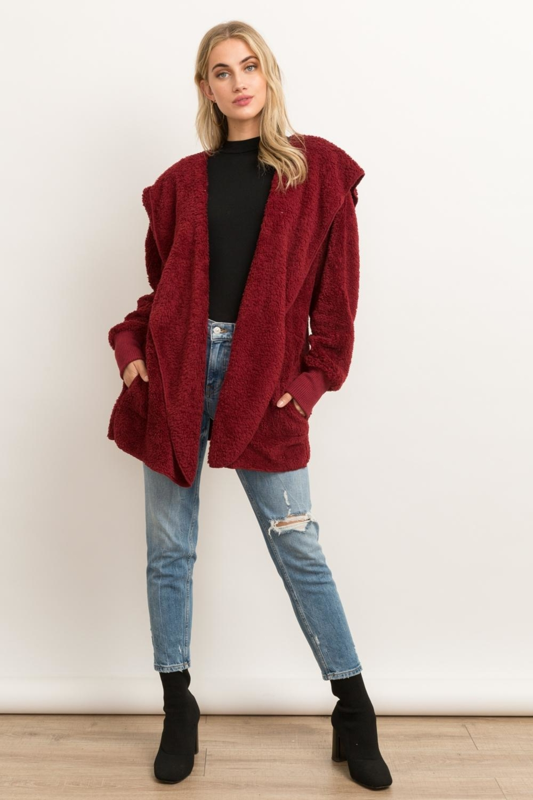 Hem & Thread Fur Open Cardigan - Front Full Image