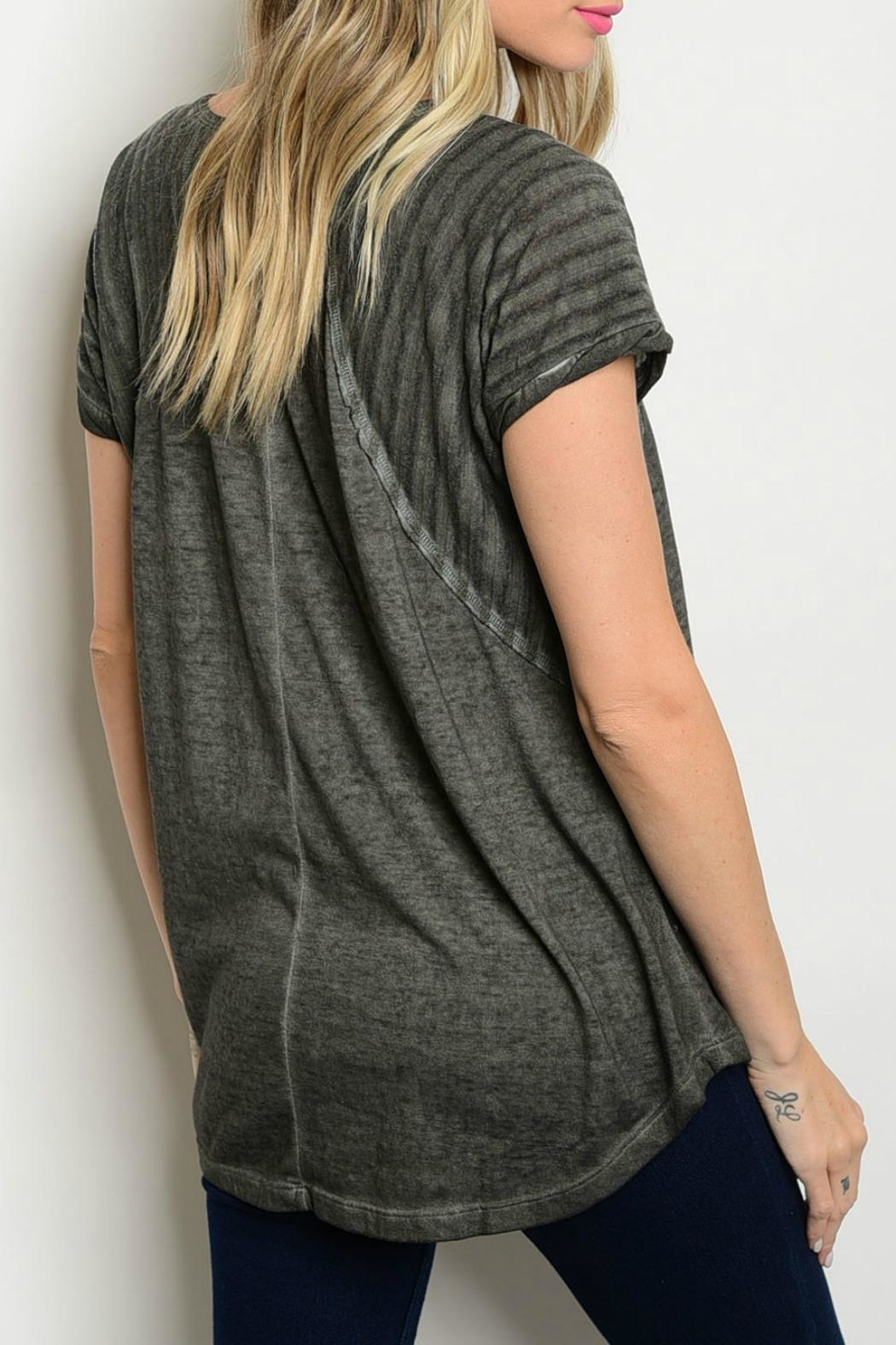 Hem & Thread Grey Contrast Tee - Front Full Image