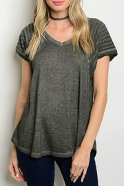 Hem & Thread Grey Contrast Tee - Front cropped