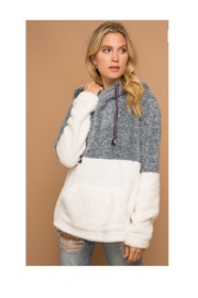 Hem & Thread Grey/white Colorblocked Fuzzy Quarter Zip Sweatshirt - Product Mini Image