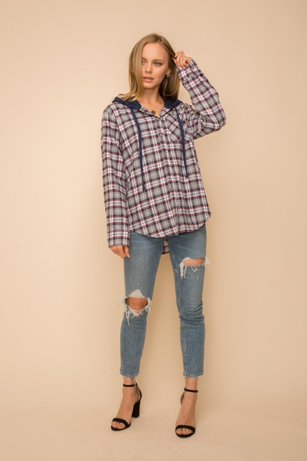 Hem & Thread Hoodie Knit Shirt - Front Cropped Image