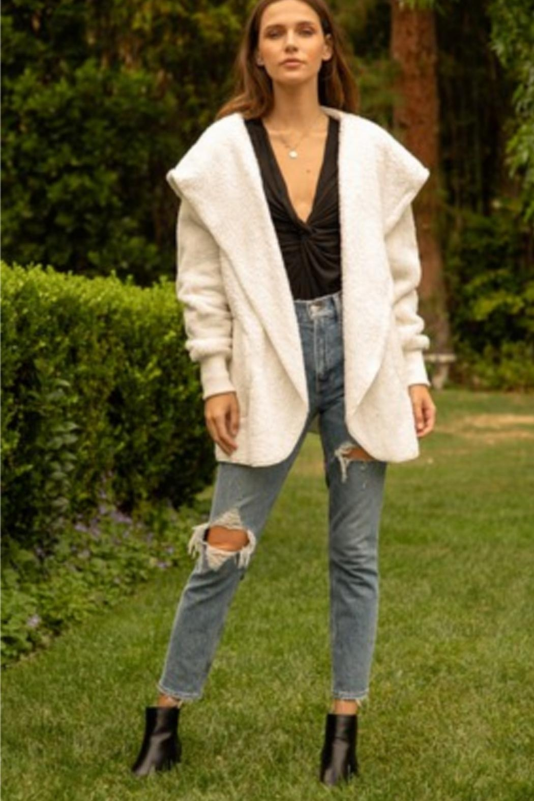 Hem & Thread Ivory Fleece Jacket - Main Image