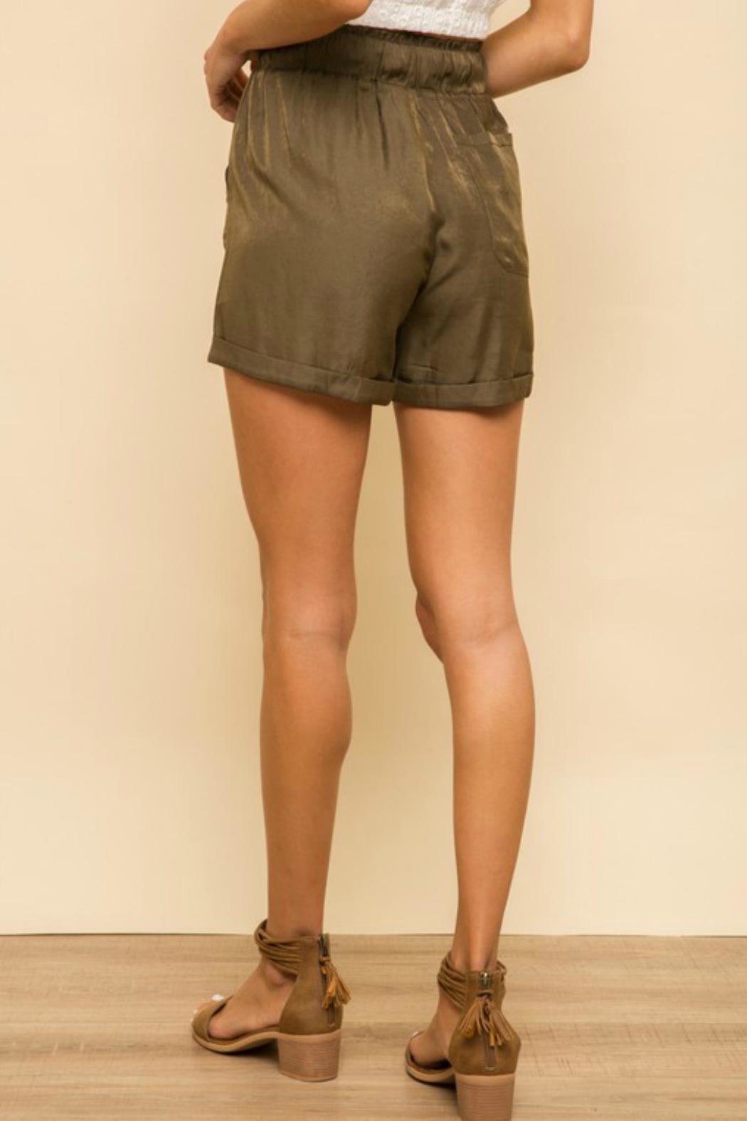 Hem & Thread Jonelle Soft-Satin Shorts - Back Cropped Image