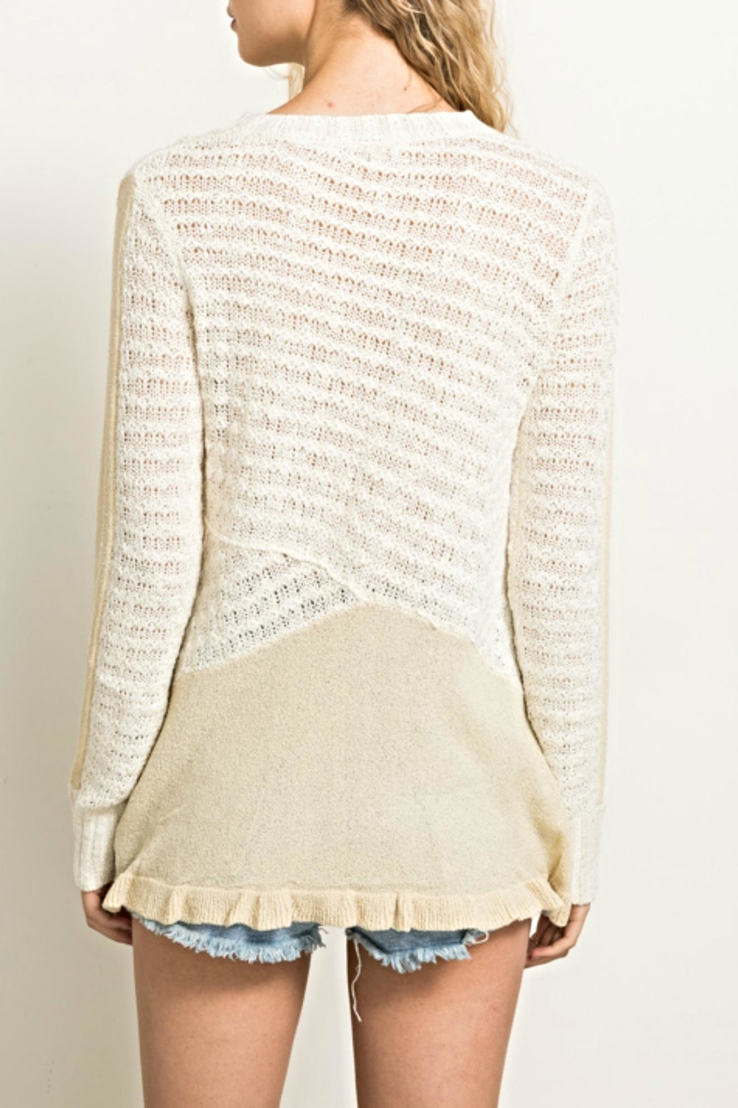 Hem & Thread Knit Ruffle Sweater - Front Full Image