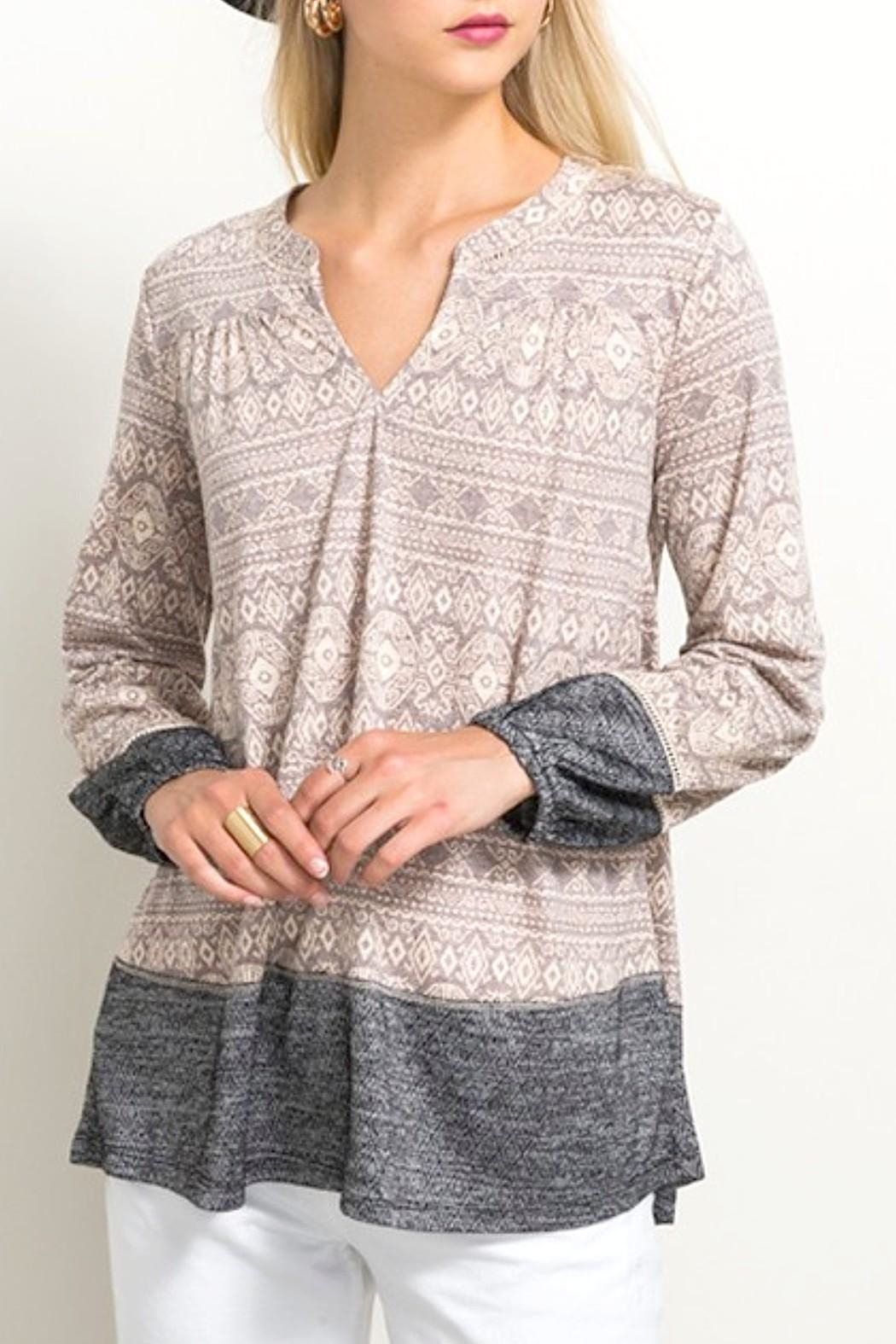 Hem & Thread Lace Inset Top - Front Cropped Image