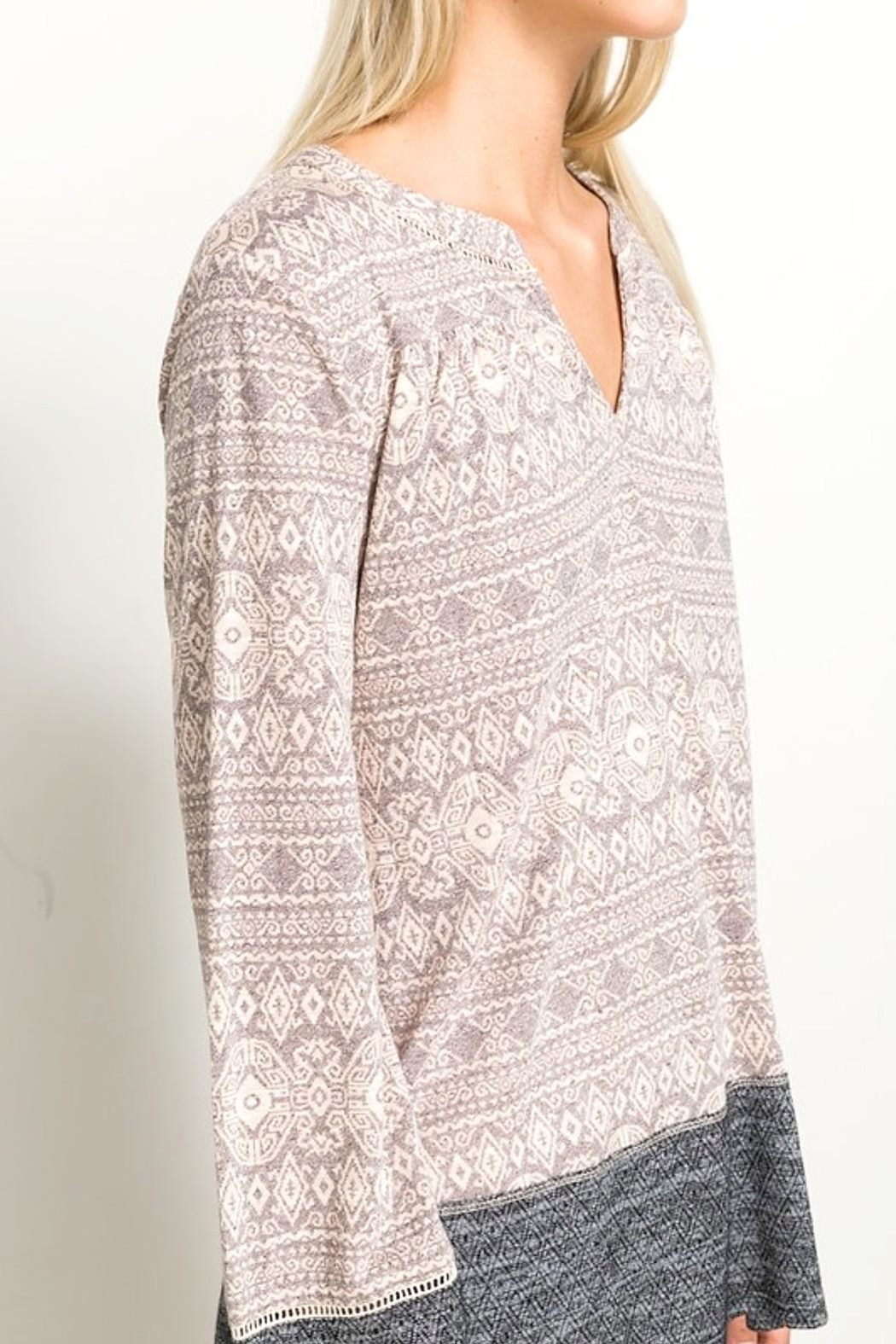 Hem & Thread Lace Inset Top - Back Cropped Image