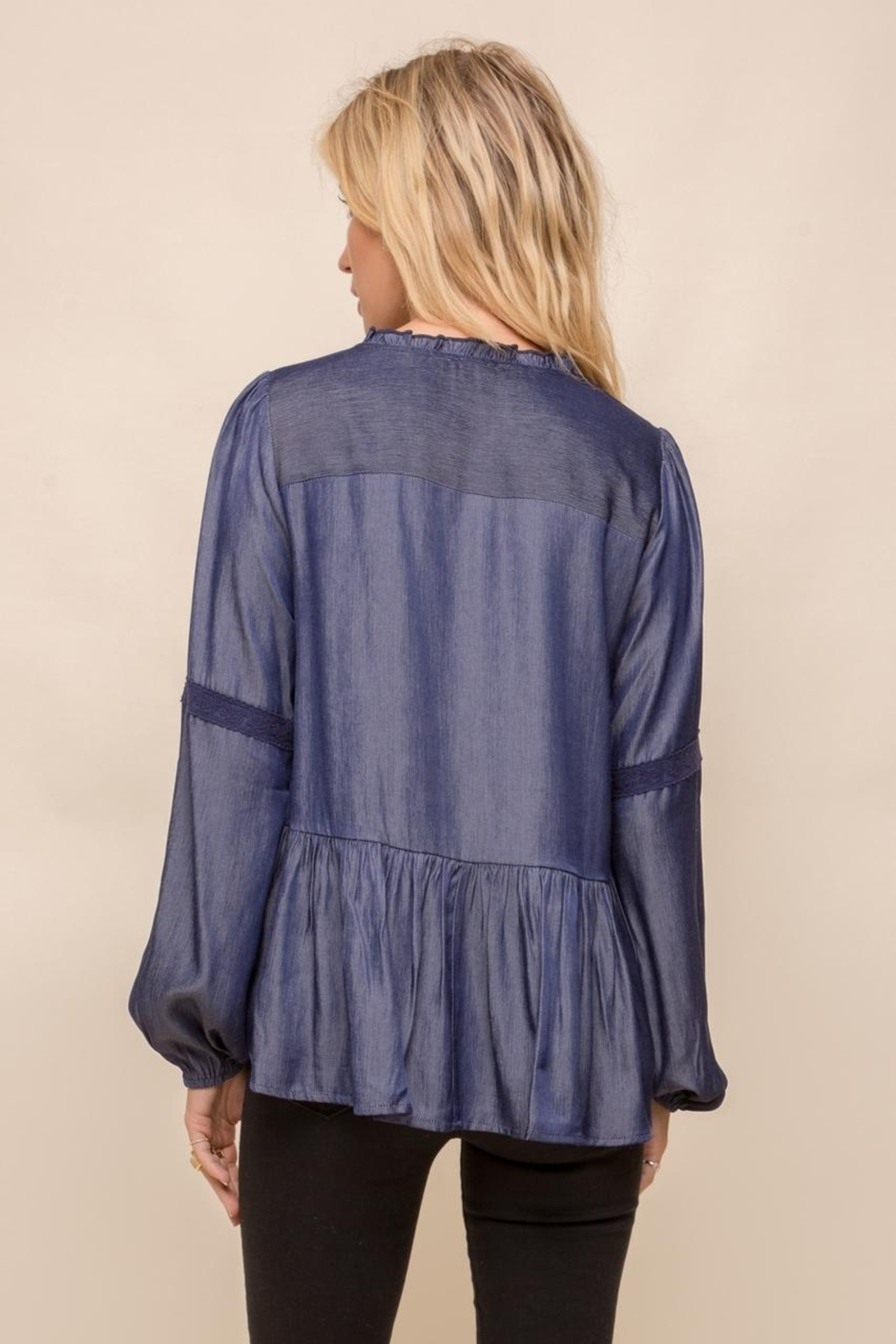 Hem & Thread Lace Trim Button Up Blouse - Front Full Image