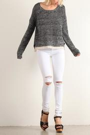 Hem & Thread Lace Trim Sweater - Product Mini Image