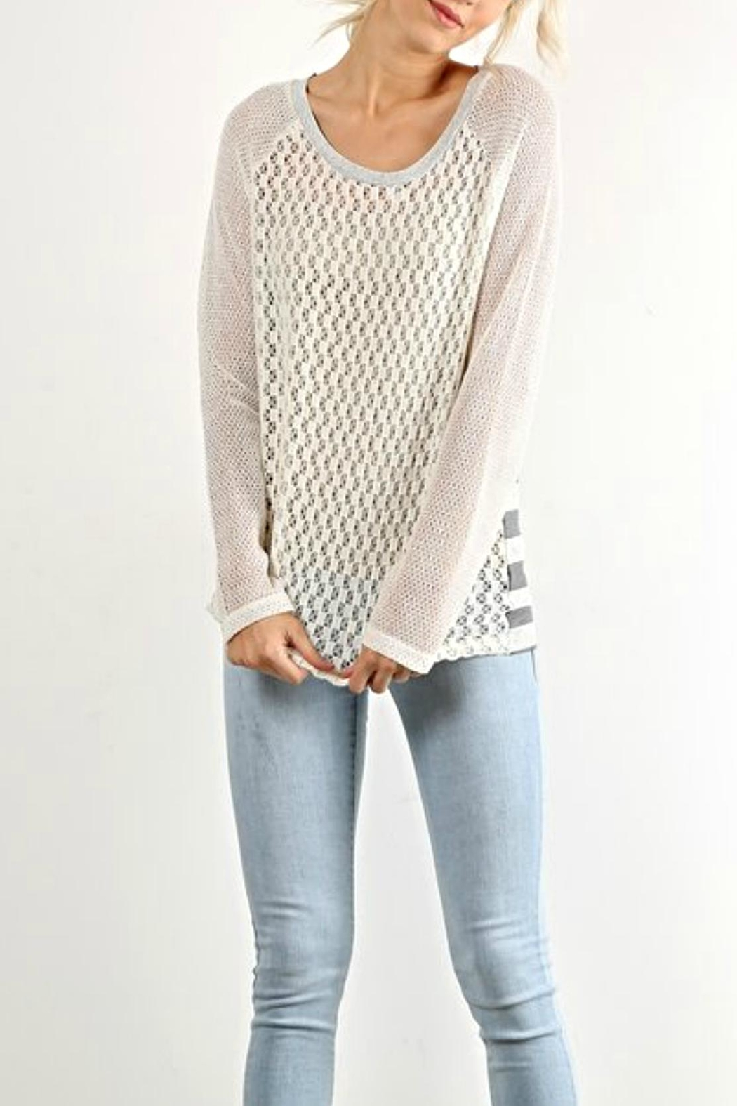 Hem & Thread Lacey Striped Top - Front Cropped Image