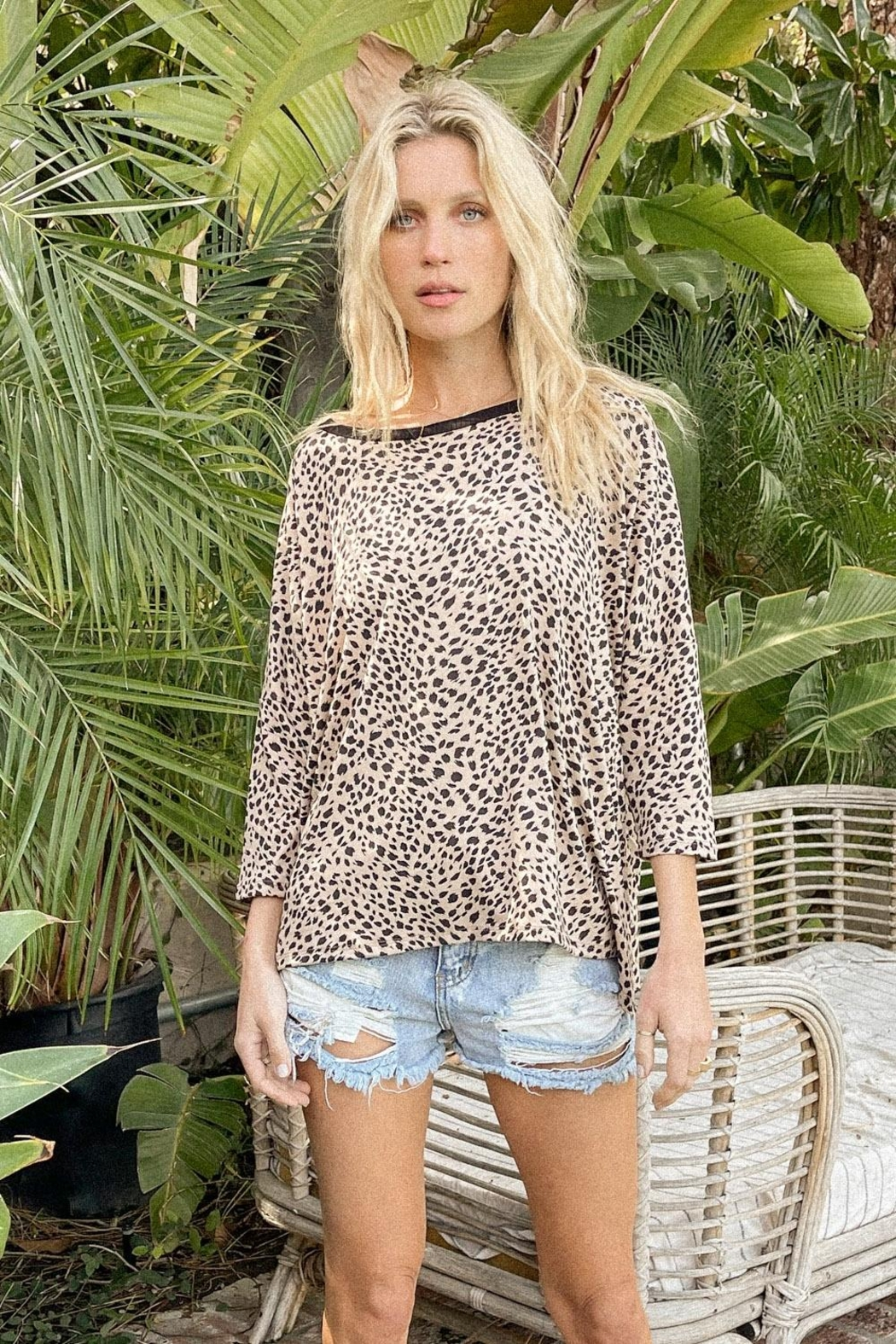 Hem & Thread Leopard Boxy Top - Front Cropped Image