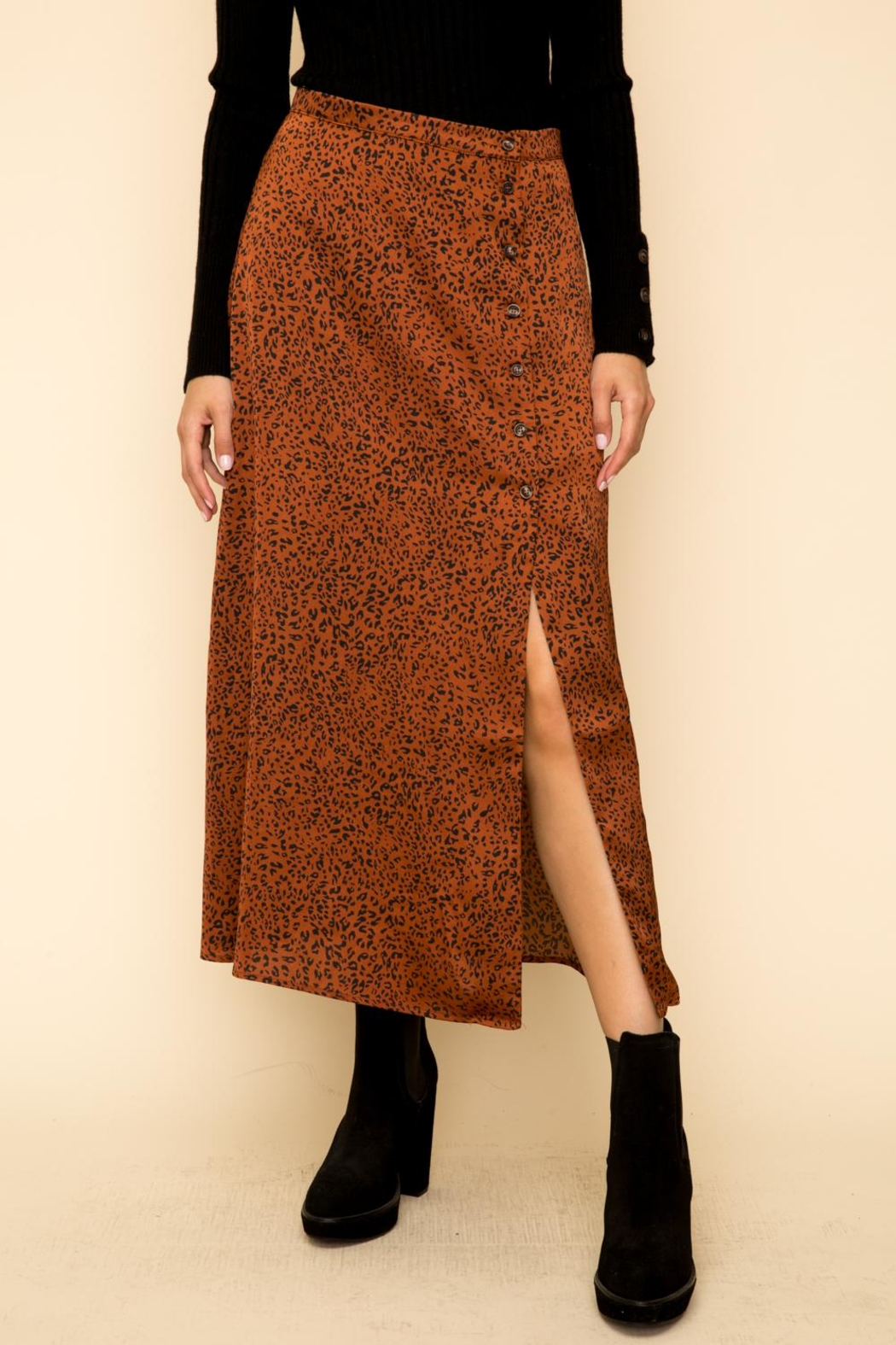 Hem & Thread Leopard Button Skirt - Front Full Image