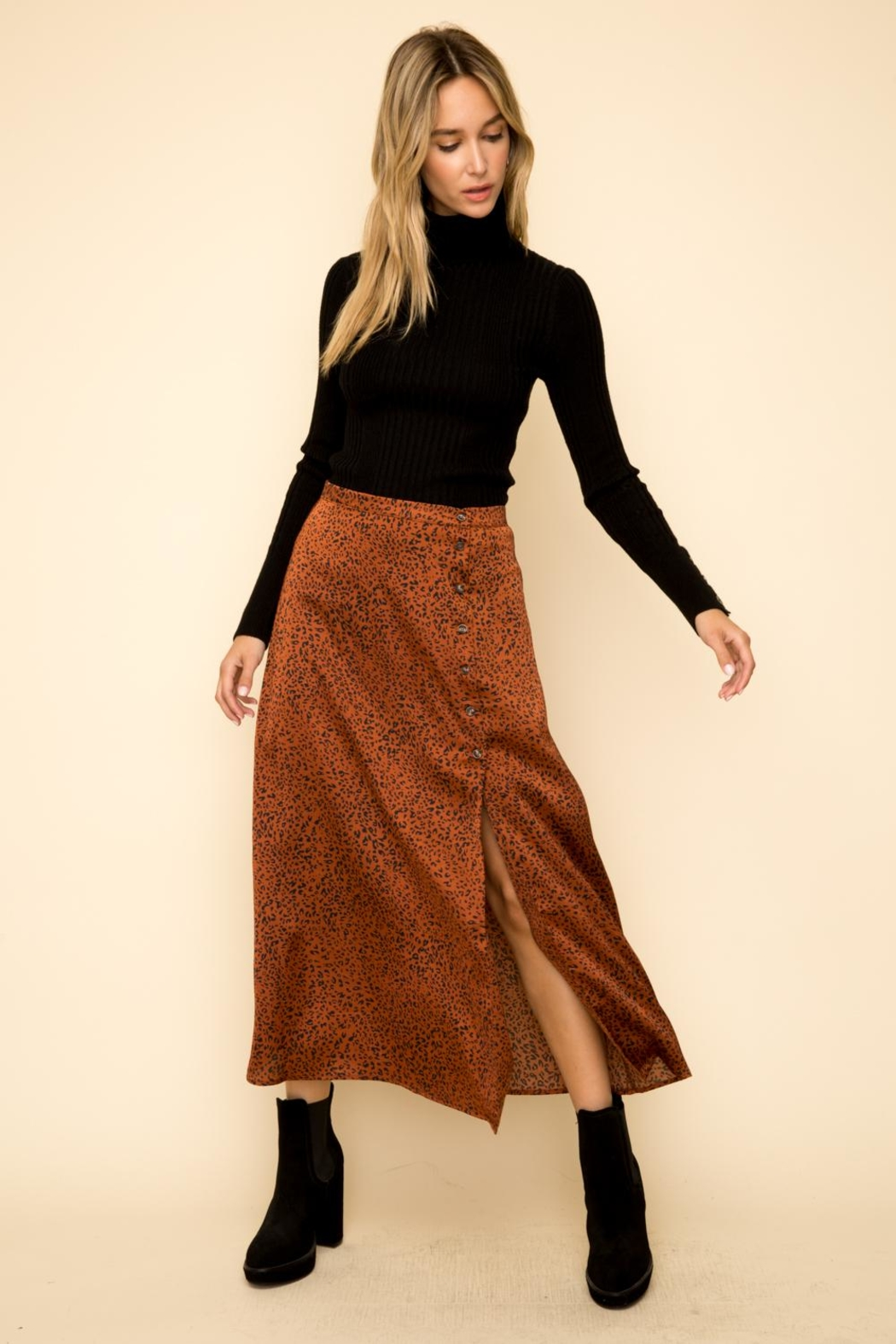 Hem & Thread Leopard Button Skirt - Main Image