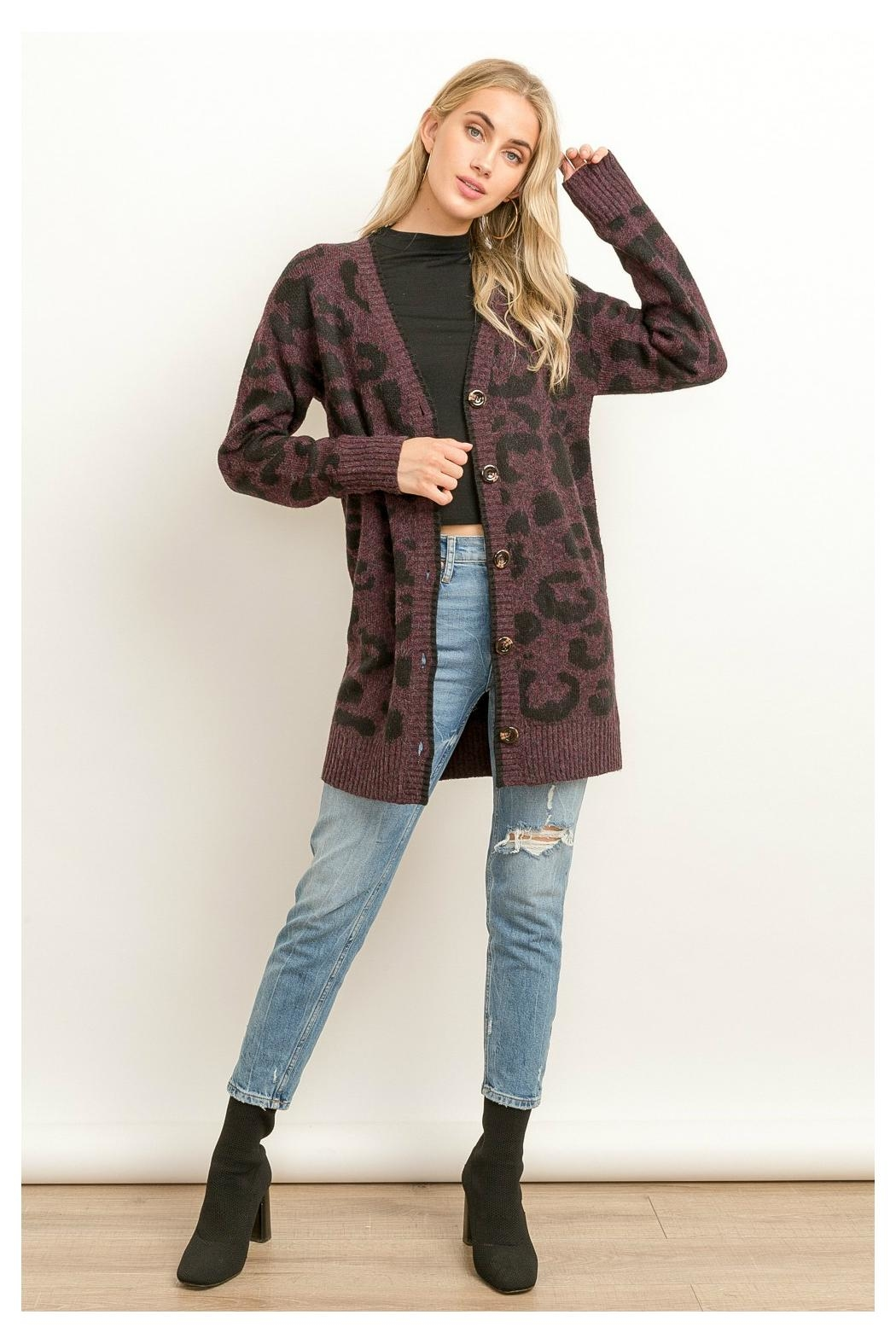 Hem & Thread Leopard Long Cardigan - Front Cropped Image