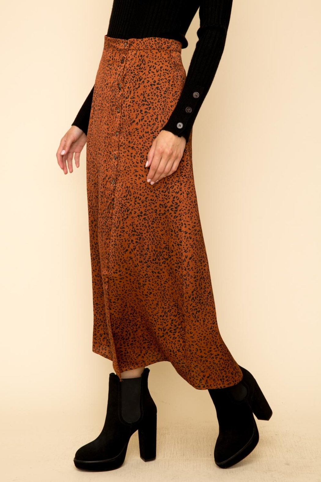 Hem & Thread Leopard Maxi Skirt - Side Cropped Image