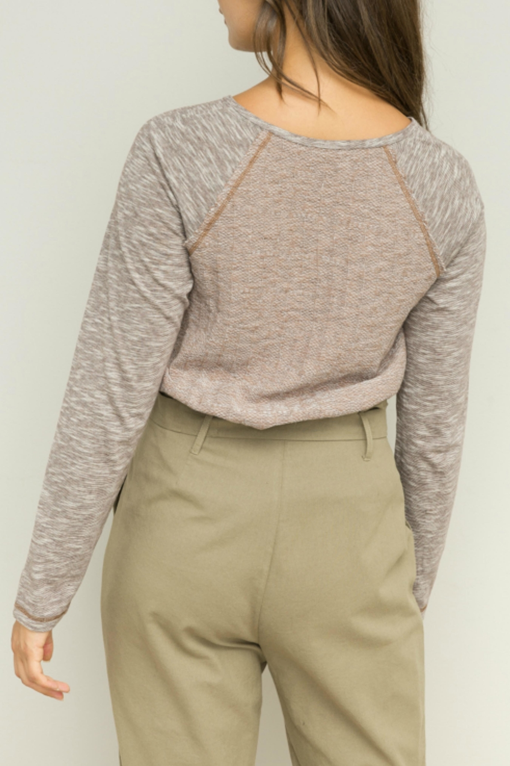 Hem & Thread Lined Henley Top - Side Cropped Image