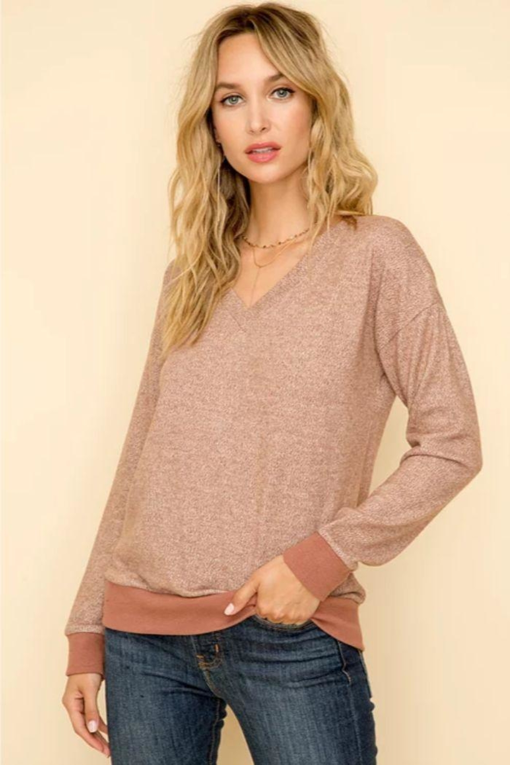 Hem & Thread Mauve Hacci Top - Main Image