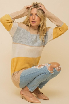 Hem & Thread Multi Color Stripe And Colorblock Soft Pullover Sweater Top - Product List Image