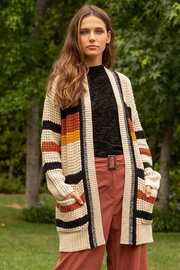 Hem & Thread Multi Color Stripe Knit Cardigan - Product Mini Image