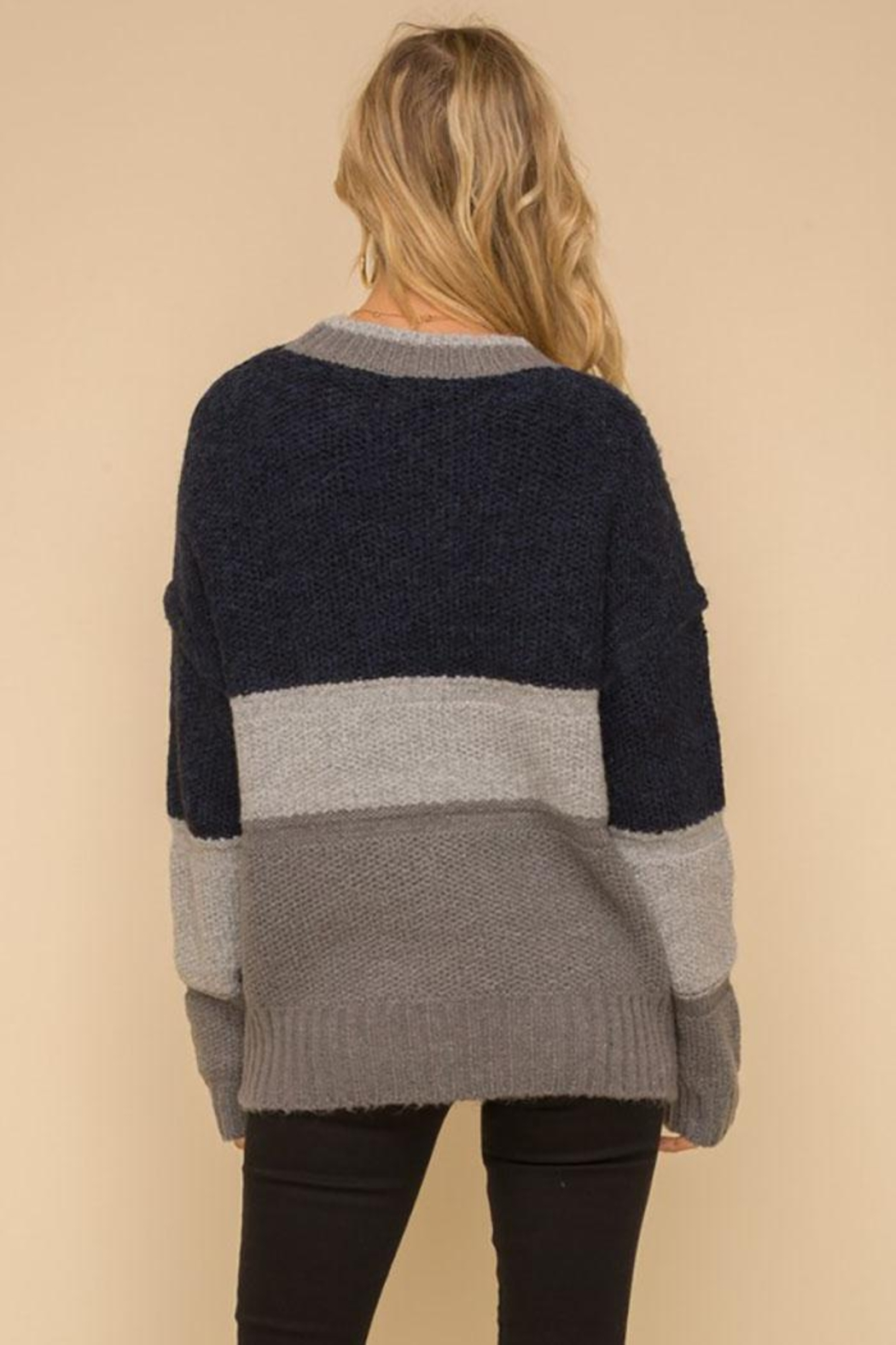 Hem & Thread Multi Stripe Colorblock Knit Pullover Sweater - Side Cropped Image