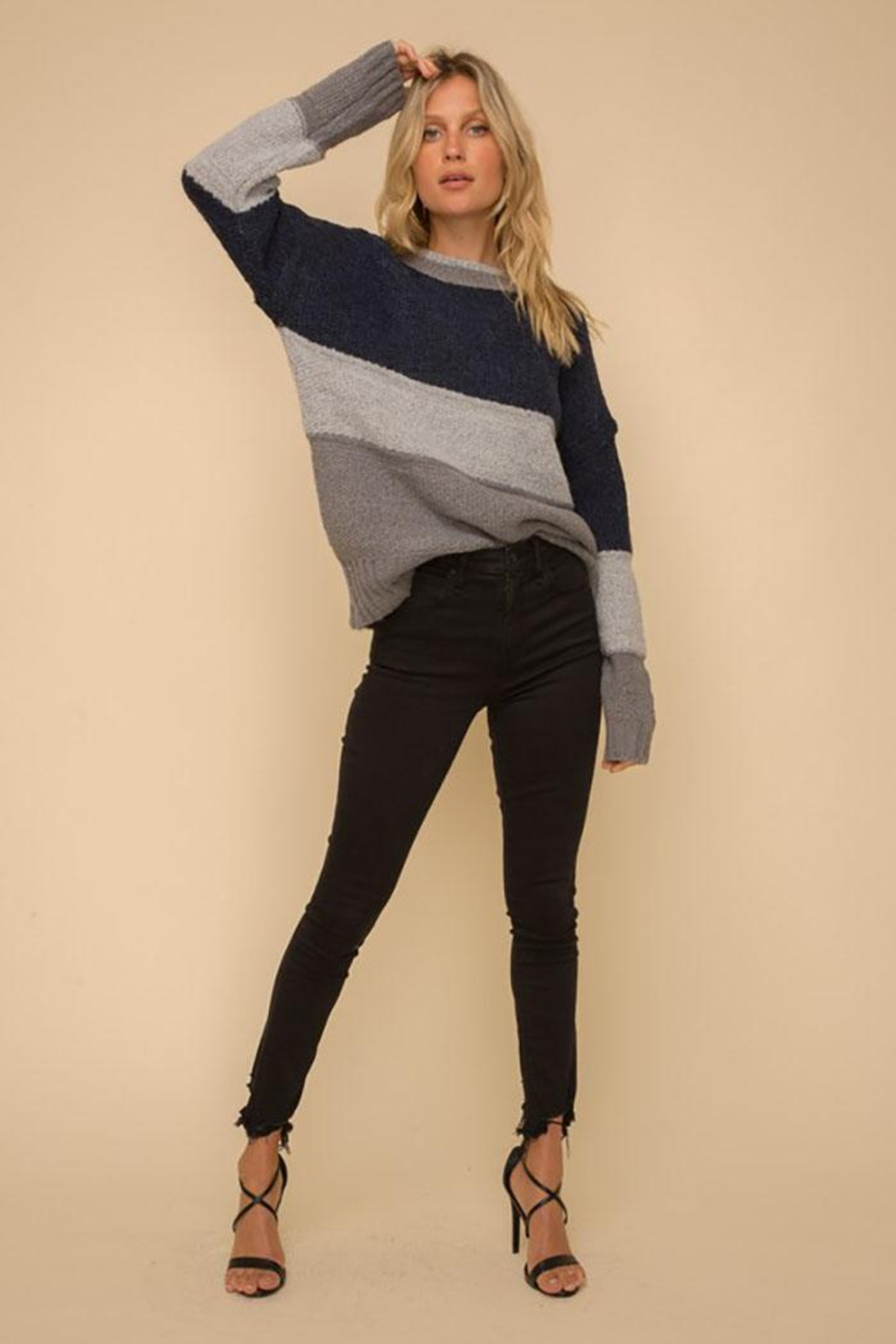 Hem & Thread Multi Stripe Colorblock Knit Pullover Sweater - Back Cropped Image