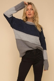 Hem & Thread Multi Stripe Colorblock Knit Pullover Sweater - Front cropped