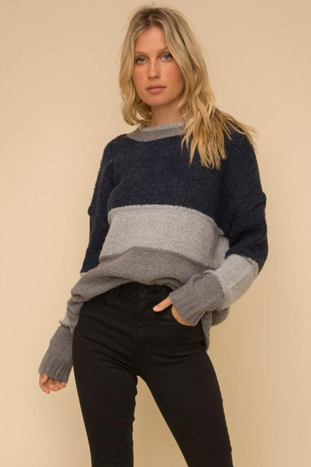 Hem & Thread Multi Stripe Colorblock Knit Pullover Sweater - Front Full Image