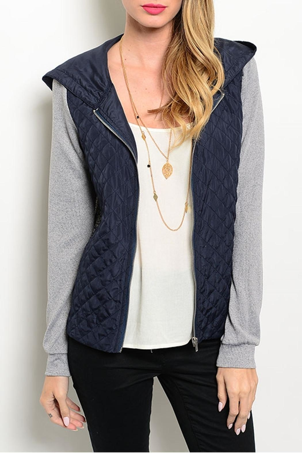 Hem & Thread Navy Gray Jacket - Front Cropped Image